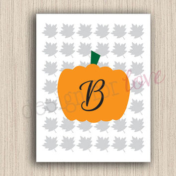 Fall Monogram - Printable File - Home Decor - Fall Decor