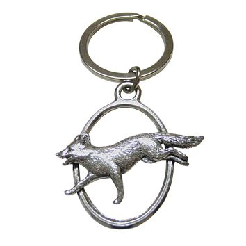 Running Fox Oval Key Chain