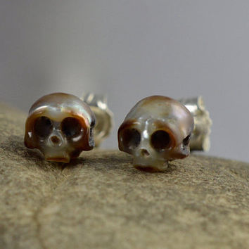 Carved Skull Pearl Stud Earrings; Sterling Silver Backs - Carved Pearl Jewelry - Halloween Earrings