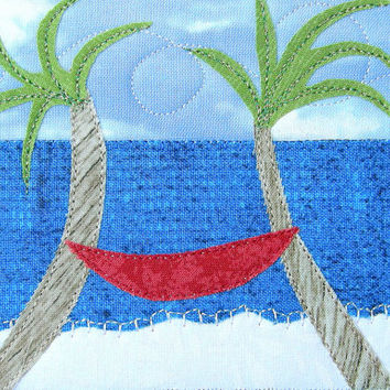 Fabric Postcard, Beach Quilted Postcard, Blue Water, Ocean Landscape, Beach Landscape, Coast and Sand, Greeting Card