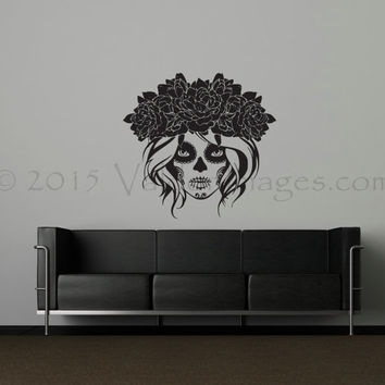 Day of the dead girl wall decal, Dia de los Muertos wall decal, Halloween wall decal, Halloween decor, spooky wall decal, gothic wall decal