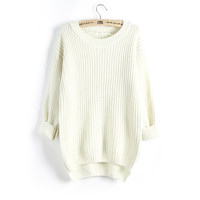 Sweater Round-neck Knit Tops Plus Size Winter Jacket [8216432641]