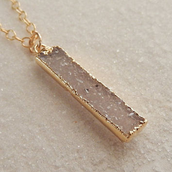 White Druzy Bar Gold Necklace Vertical Rectangle Quartz Crystal Drusy - Free Shipping OOAK Jewelry