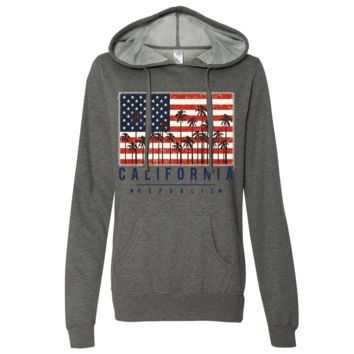 USA California Republic Palms Ladies Lightweight Fitted Hoodie
