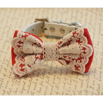 Coral wedding dog collar, Coral Lace Dog Bow Tie, Pet wedding