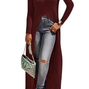Burgundy High Front Slit Long Shirt Dress Top