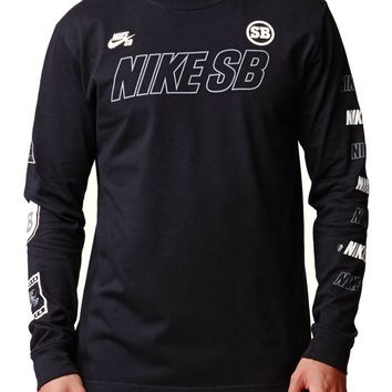 Nike SB Reflective Long Sleeve Race T-Shirt - Mens Tee - Black