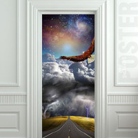 "Wall Door STICKER tempest storm eagle fantasy space road mural decole film self-adhesive poster 30x79""(77x200cm) /"