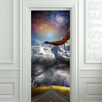 """Wall Door STICKER tempest storm eagle fantasy space road mural decole film self-adhesive poster 30x79""""(77x200cm) /"""