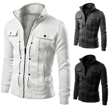 Men's Fashion Collar Cardigan Button Zipper Jacket