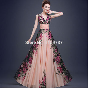 Hot Sale Empire Chiffon Ship Out Within 3 Days Flower Pattern Printed Evening Dress V-neck Corset Back Alternative Measures - Brides & Bridesmaids - Wedding, Bridal, Prom, Formal Gown