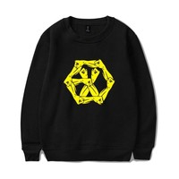 KPOP EXO EXO-M EXO-K Sweatshirt Black White Pullover Autumn Winter Warm Cotton Women Men Hoodies Sweatshirts EXO-L Clothes 4XL
