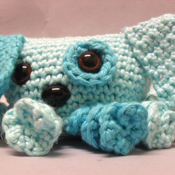 Crochet Octopuppy Puppy / Octopus hybrid plush toy. Amigurumi stuffed animal toy for all ages Turquoise Blue / Aqua Spark