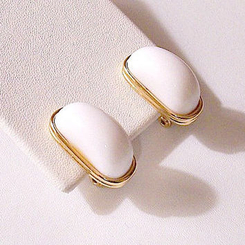 Monet White Half Moon Clip On Earrings Gold Tone Vintage Long Domed Oval Lucite Lined Rimmed Edges
