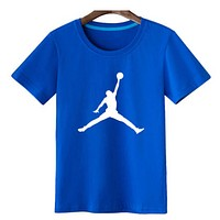 Jordan Fashion New Bust People Print Women Men Leisure Personality Top T-Shirt Blue