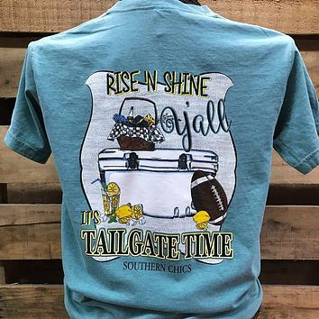 Southern Chics Rise N Shine Tailgate Time Football Comfort Colors Bright T Shirt