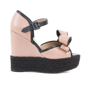 Valentino Blush & Black Leather Sandals