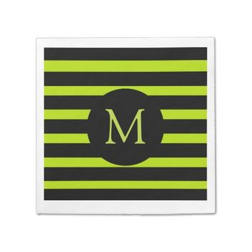 Modern Lime Green and Black Stripes Monogram Napkin