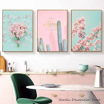 Nordic Poster Pink Flower Picture Cactus Canvas Painting Abstract Art Print Posters And Prints Wall Art Canvas Art Unframed