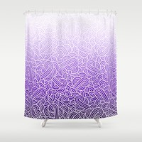 Ombre purple and white swirls zentangle Shower Curtain by Savousepate