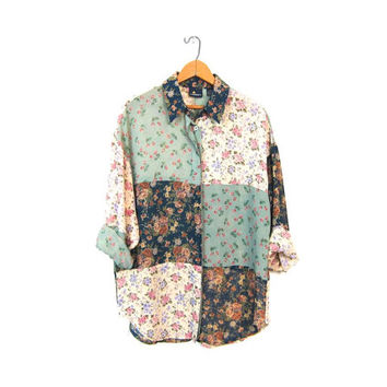 Slouchy SHEER Floral Blouse Button Up 90s Festival Patchwork Shirt Bohemian Grunge Gypsy Preppy Long Sleeve Top Womens Medium Large