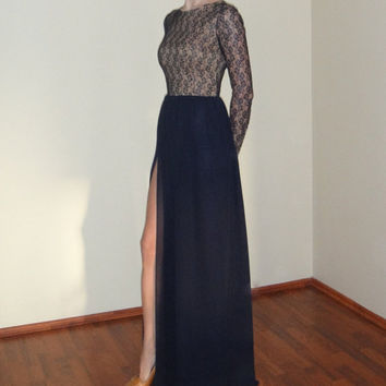 Lace and Chiffon Maxi Evening Gown with Slit,Long Sleeves,Navy Blue Bridesmaid Dress,Lace Dark Blue Prom Dress,Floor Length Chiffon Dress