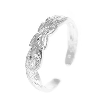 925 Sterling Silver Hawaiian Plumeria Flower Scroll 4mm Cut Out Open Toe Ring