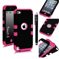 E LV Two Tone Hard and Soft Hybrid Armor Sports Combo Case for Apple iPod Touch 5 5th Generation with 1 Screen Protector, 1 Black Stylus, 1 Water Resistant Bag and 1 E LV Microfiber Digital Cleaner10