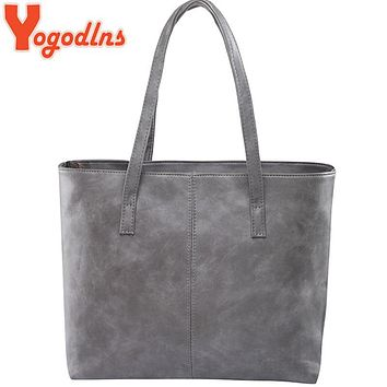 Yogodlns bag 2017 fashion women leather handbag brief shoulder bags gray /black large capacity luxury handbags tote bags design