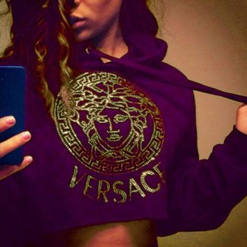 LMFON ' VERSACE '' Casual Long Sleeve Crop Top Sweater Pullover Hoodie