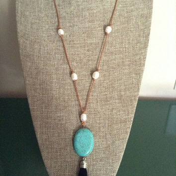 Leather And Freshwater Pearl Necklace With Turquoise Color Stone And Silver Tone Black Tassel Pendant Leather Tassel Necklace