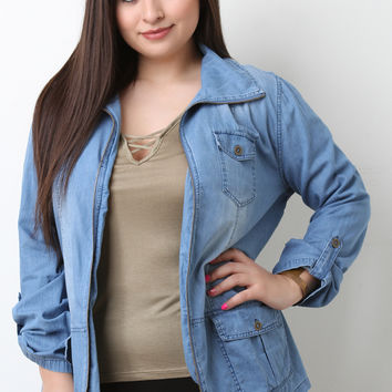 Washed Denim Zippered Front Jacket