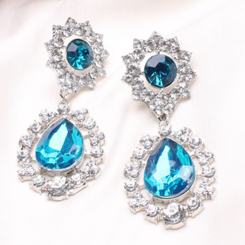 C124 explosion models in Europe and America exaggerated diamond earrings diamond flower earrings  Hot new jewelry  BLUE