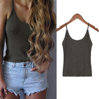 Fashion Sexy Summer Women O-neck Knitted Short Braces tops