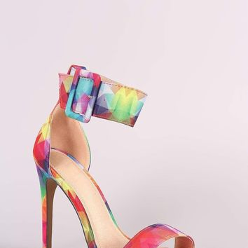 Liliana Kaleidoscope Ankle Cuff Open Toe Stiletto Heel