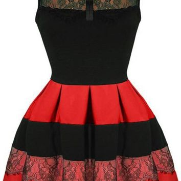 Black-Red Patchwork Lace Pleated Bowknot Peter Pan Collar A-line Cute Mini Dress