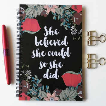 Writing journal, spiral notebook, bullet journal, sketchbook, black red floral, blank lined grid - She believed she could so she did