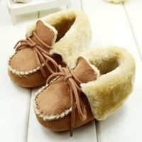 New Fashion Winter Warm Brown Color Baby boots With Laces Soft Bottom Toddler shoes Baby Shoes = 1946405956