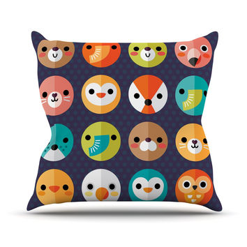 "Daisy Beatrice ""Smiley Faces"" Animals Throw Pillow"