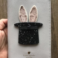 NWT New Kate Spade Make Magic Bunny Rabbit Glitter Hat Leather Passport Holder