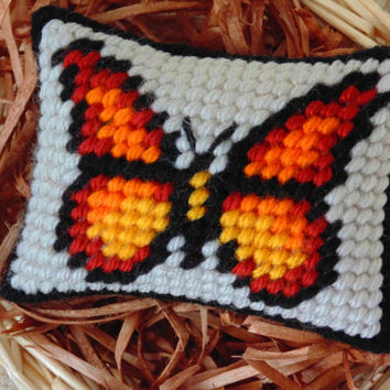 Butterfly Needlepoint Mini Pillow, Orange Butterfly, Miniature Art Pincushion, Butterfly Decor, Spring Needle Art, Bowl / Basket Filler