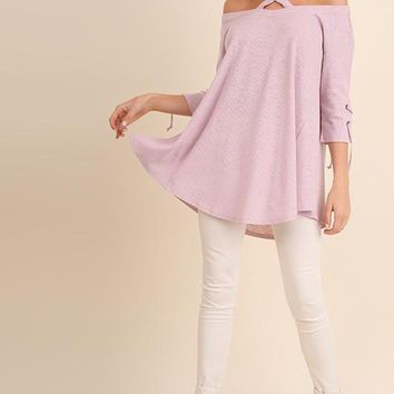 Lace up Sleeve Tunic - Pink
