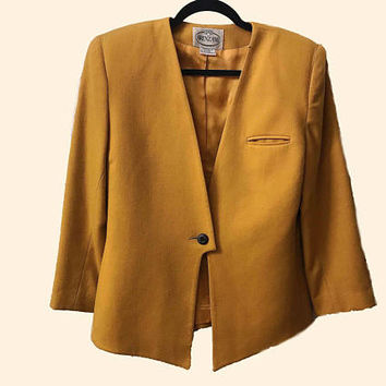 70s 80s Vintage ARENZANO Golden Rod Blazer / Ladies Single Breasted Mustard Yellow Wool Jacket / Fully Lined Shoulder Padded Suit Jacket