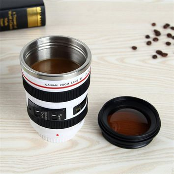 Camera Lens Cup Durable Stainless Steel Travel Coffee Mug