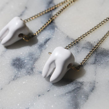 White Teeth Earrings on Brass Chain