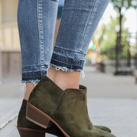 Be Mine Booties - Olive