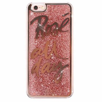 Rose All Day Glitter iPhone Case + Border