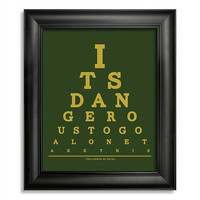 The Legend Of Zelda, It's Dangerous To Go Alone Take This Eye Chart, 8 x 10 Giclee Print BUY 2 GET 1 FREE