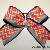 Chevron Big Cheer Bow Girls Cheerleader Hair Accessory Orange Navy Silver Denver Bronco Inspired Huge Football College School Team Spirit