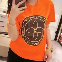 LV Louis Vuitton New Hot Sale Women Men Casual Print T-Shirt Top Blouse